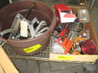 boxes of misc tools, parts, nuts, bolts