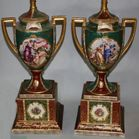 Pair hand painted scenic lamps