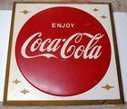 VINTAGE METAL COCA COLA BUTTON IN FRAME