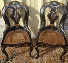 Pr of mother of pearl inlaid chairs