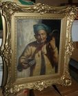 Oil painting man with pipe T.Stakav