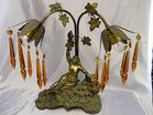 Deco figural lamp with amber