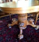 Lion carved oak table with leaves