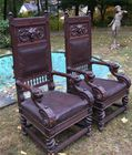 Pr of lion cvd oak armchairs