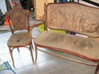 tooled leather bench and chairs