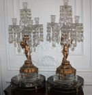 Pr. Figural and crystal candelabras