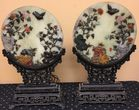 Carved Asian lamps with hardstone