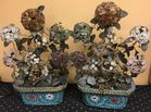 Pair of cloisonne and hardstone plants