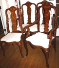 Marquetry inlaid settee and chairs