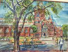 Harvard Memorial Hall watercolor