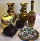 Lot of cloisonne and brass