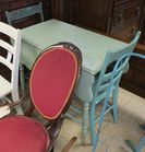 painted drop leaf table & 2 chairs