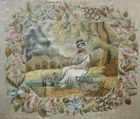 19C needlework woman and sheep