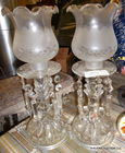 a pair of crystal buffet lamps