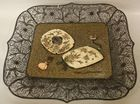 Rare Japanese silver and enam tray