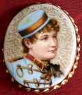 Hand painted Lillian Russell brooch