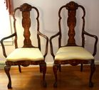 Pr Dutch marquetry inlaid armchairs
