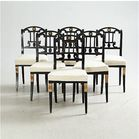 6 black painted Lindom dining chairs
