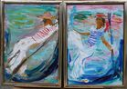 2 Gondoliers paintings Bob Kane