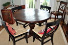 Distressed pine round dining set