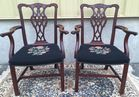 2 of 6 Chippendale style chairs