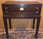 Brass inlaid writing box on stand