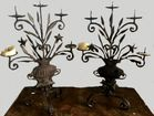 Nice pair of iron candleholders