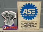 ASE and V-Twin Metal Signs