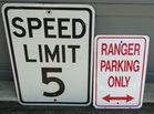 Speed 5 & Ranger Parking Signs