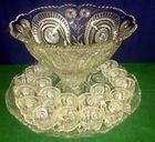 L.E. Smith Punch Bowl, 24 cups, EAPG