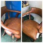 2 M C M leather chairs from N. Carolina