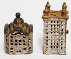 Lot# 221 - Lot of 2 Cast Iron Banks Buil