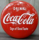 "Coke Button sign 36"" mint"