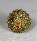 Lot 155: Gold emerald diamond ring