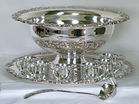 Large Silver Plate Punchbowl Set