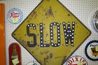 early slow sign with reflectors